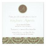 Chocolate Brown/Sage Damask Wedding Shower Invites
