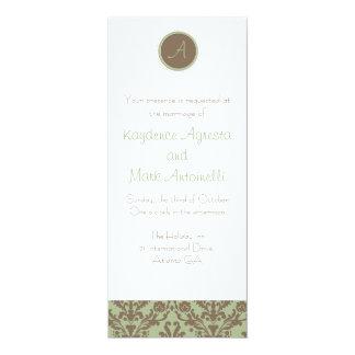 Chocolate Brown/Sage Wedding Invitation