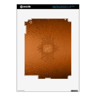 Chocolate Brown Stained Glass Look-Monogram iPad 3 Decals