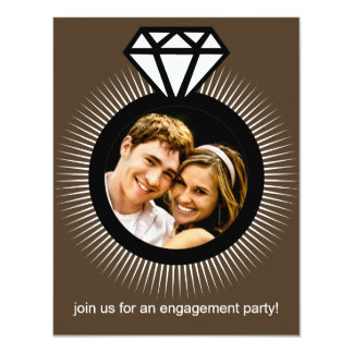 Chocolate Brown The Ring Photo Engagement Party 4.25x5.5 Paper Invitation Card