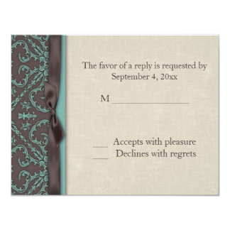Chocolate Brown Turquoise RSVP Card