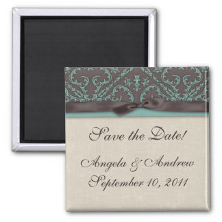 Chocolate Brown Turquoise Save the Date Magnet