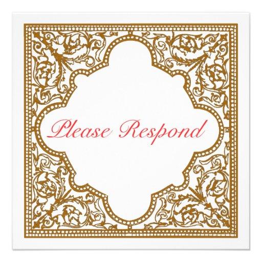 chocolate brown vintage frame wedding rsvp 525x525 With wedding invitation rsvp time frame