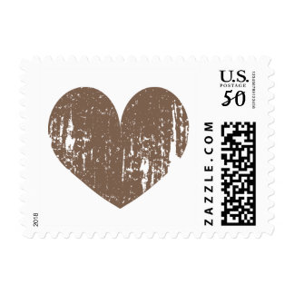 Chocolate brown vintage heart icon wedding stamps