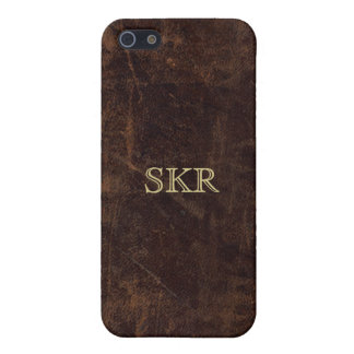 Chocolate Brown Vintage Leather Look iPhone 5 Cases