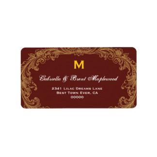 Chocolate Brown Vintage Monogram B456 Label