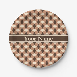 Chocolate Brown Wavy Pattern Paper Plate 7 Inch Paper Plate
