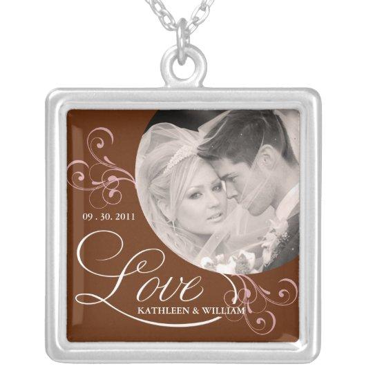 Chocolate Brown Wedding Photo Pendant Necklace