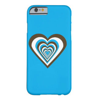 Chocolate Brown White and Turquoise Hearts Barely There iPhone 6 Case