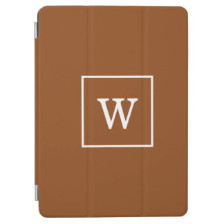 Chocolate Brown White Framed Initial Monogram iPad Air Cover