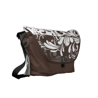Chocolate Brown/White Swirl Shoulder Messenger Bag