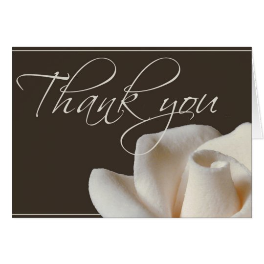 Chocolate brown winter white thank you card
