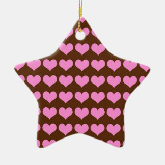 Chocolate Brown with Many Pink Hearts Ceramic Ornament