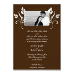Chocolate Brown with White Floral Accents Invitation