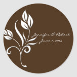 Chocolate Brown with White Floral Accents Stickers