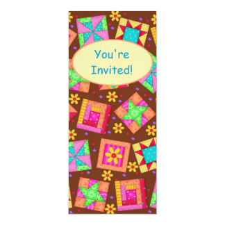 Chocolate Brown Yellow Patchwork Quilt Block Art Card