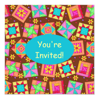 Chocolate Brown Yellow Patchwork Quilt Block Art 5.25x5.25 Square Paper Invitation Card