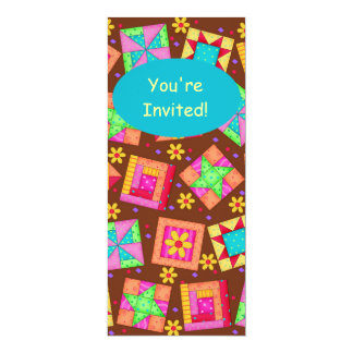 Chocolate Brown Yellow Patchwork Quilt Block Art 4x9.25 Paper Invitation Card