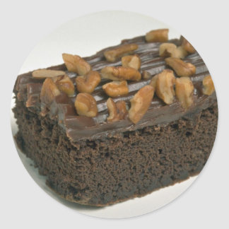 Chocolate brownie cake for food lovers classic round sticker