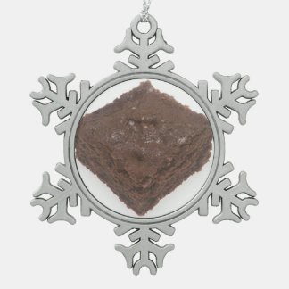 Chocolate Brownie Snowflake Pewter Christmas Ornament
