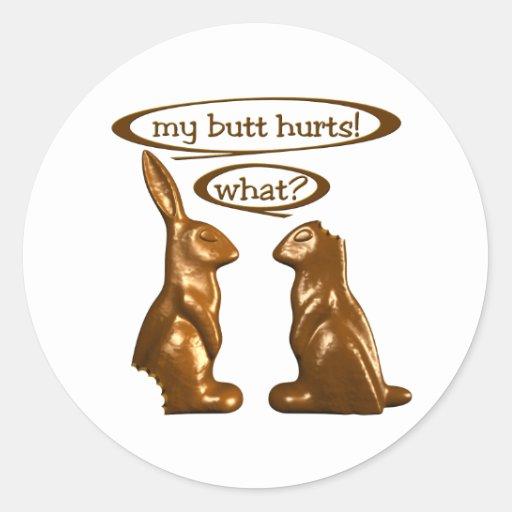 Chocolate bunnies classic round sticker