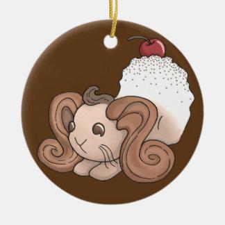 Chocolate Bunny Ceramic Ornament