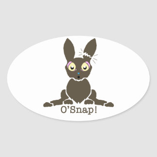 Chocolate bunny oval sticker