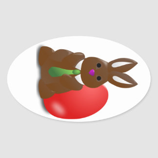 Chocolate Bunny Oval Sticker