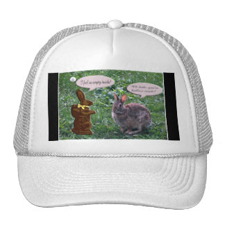 Chocolate Bunny talking to a real bunny rabbit Trucker Hat