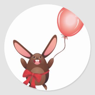 Chocolate Bunny with Balloon Classic Round Sticker