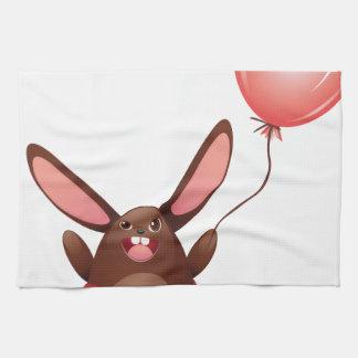 Chocolate Bunny with Balloon Hand Towel