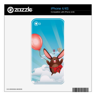 Chocolate Bunny with Balloon iPhone 4 Skins