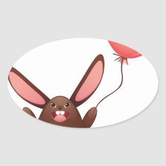 Chocolate Bunny with Balloon Oval Sticker