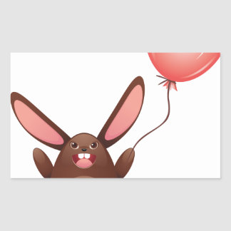 Chocolate Bunny with Balloon Rectangular Sticker