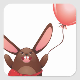 Chocolate Bunny with Balloon Square Sticker
