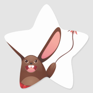 Chocolate Bunny with Balloon Star Sticker