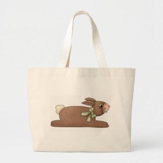Chocolate Bunny with Lite Green Bow Jumbo Tote Bag