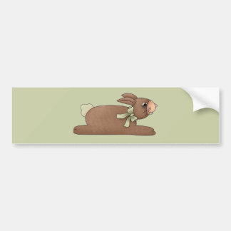 Chocolate Bunny with Lite Green Bow Bumper Sticker