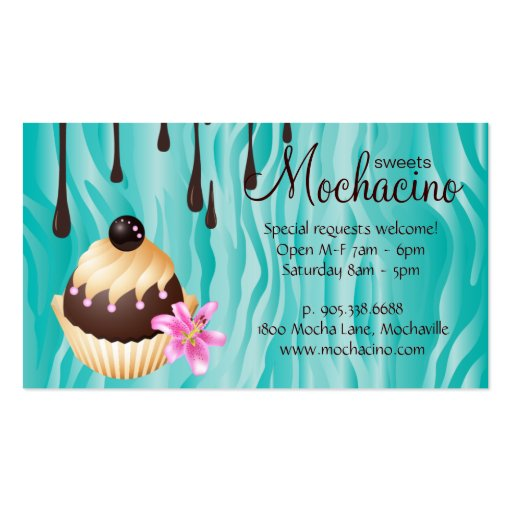 Chocolate Business Card Bakery Cupcake (back side)