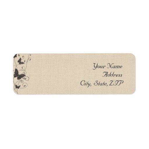 Chocolate Butterflies on Linen Return Address Return Address Label