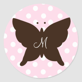 Chocolate Butterfly Classic Round Sticker