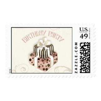 Chocolate Cake Birthday Party Invitation Postage