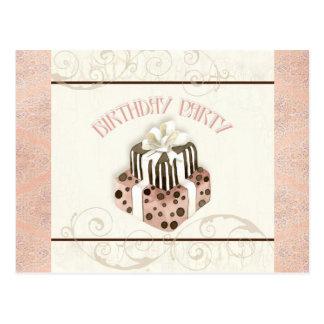 Chocolate Cake Birthday Party Invitation Post Cards