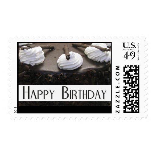 Chocolate cake birthday stamp