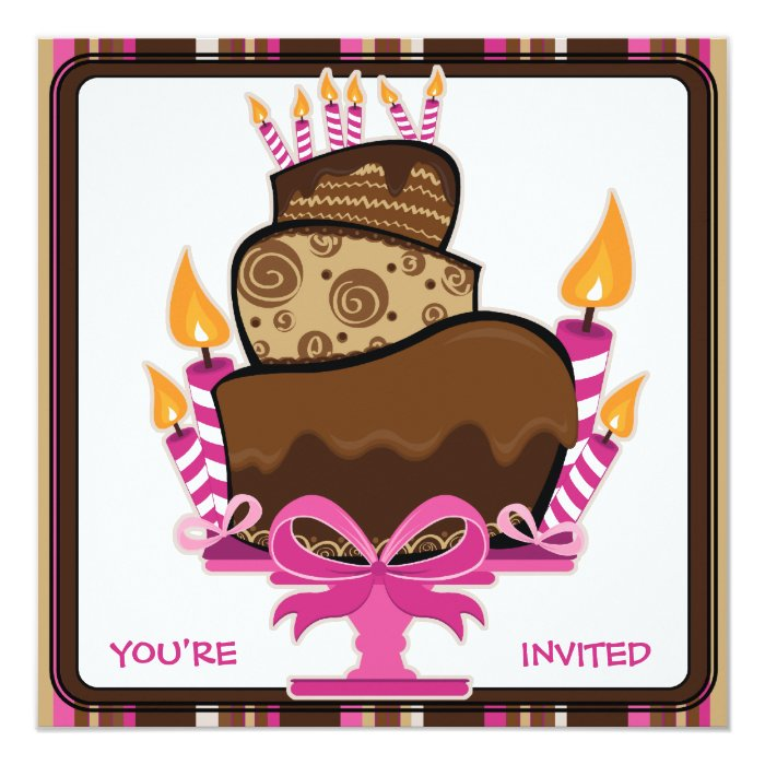 Chocolate Cake & Candles Birthday Party Invitation