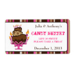 Chocolate Cake & Candles Cnady Buffet Label