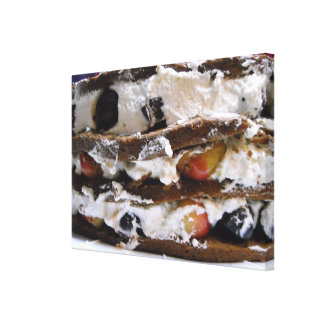 Chocolate Cake, Cherries, Whipped Cream Canvas Art