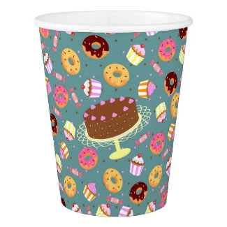 Chocolate cake, donuts, and candy party pattern
