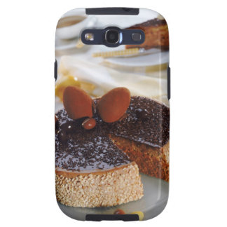 Chocolate cake on plate, close-up galaxy s3 covers