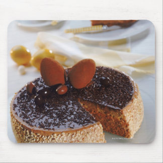 Chocolate cake on plate, close-up mouse pad